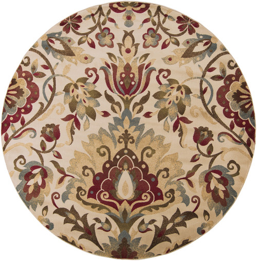 8' Floral Red and Beige Shed-Free Round Area Throw Rug - IMAGE 1
