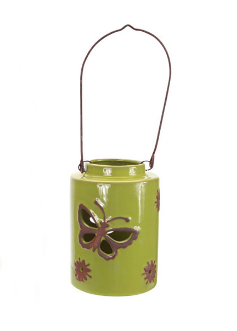 """12.5"""" Green Cut-Out Butterfly Tea Light or Votive Candle Holder - IMAGE 1"""