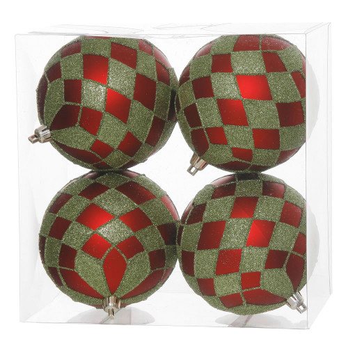 """4ct Red and Lime Green Shatterproof Diamond Accent Christmas Ball Ornaments 4"""" (100mm) - IMAGE 1"""
