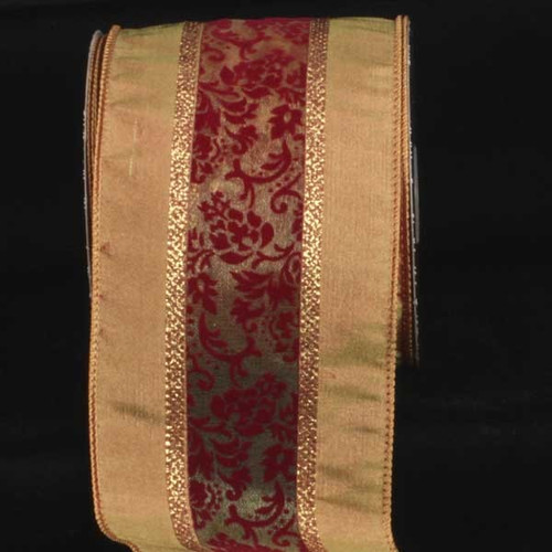 """Brown and Red French Nuiten Center Wired Craft Ribbon 4"""" x 20 Yards - IMAGE 1"""