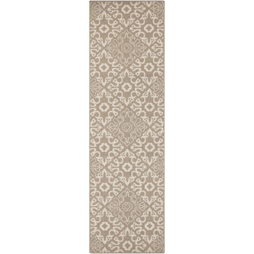 2.25' x 7.75' Brown and Beige Contemporary Machine Woven Rectangular Outdoor Area Throw Rug Runner - IMAGE 1