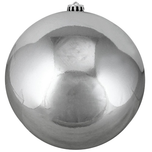 "Shiny Gray Shatterproof Christmas Ball Ornament 8"" (200mm) - IMAGE 1"