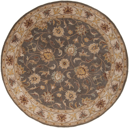 4' Floral Taupe Brown and Gray Hand Tufted Round Wool Area Throw Rug - IMAGE 1