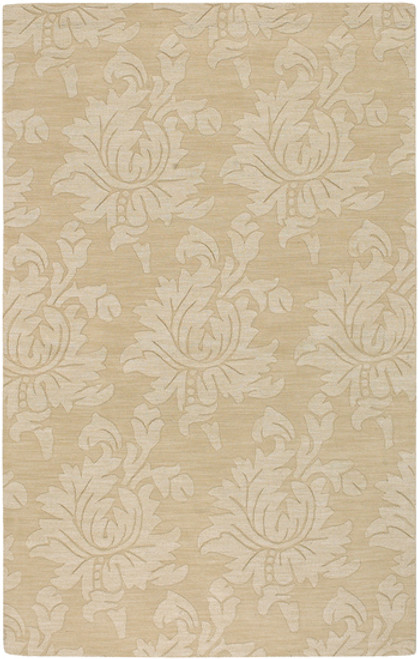 8' x 11' Floral Brown and Beige Hand Loomed Rectangular Wool Area Throw Rug - IMAGE 1