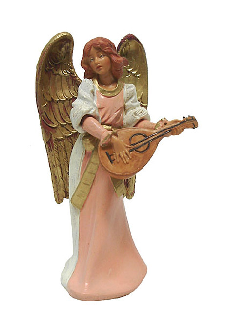 "6"" Pink and Gold Eva Angel with Mandolin Christmas Nativity Figurine - IMAGE 1"