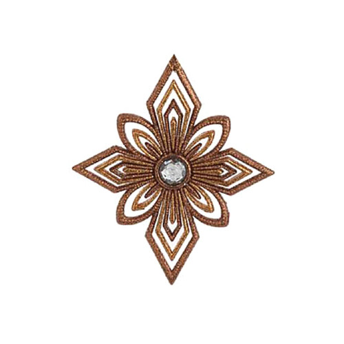 """5"""" Gold and Clear Glittered Snowflake Star Christmas Ornament - IMAGE 1"""