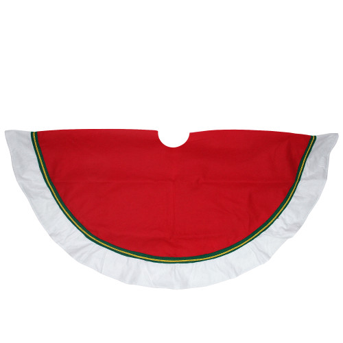 """48"""" Red and White Contemporary Christmas Tree Skirt - IMAGE 1"""
