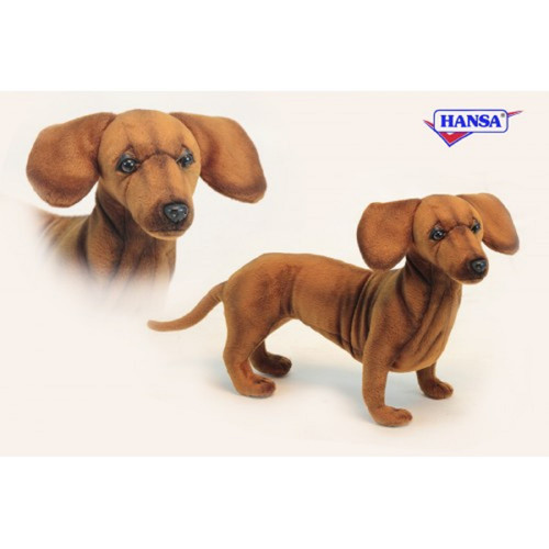 """Set of 3 Brown Handcrafted Soft Plush Standing Dachshund Stuffed Animals 16.25"""" - IMAGE 1"""