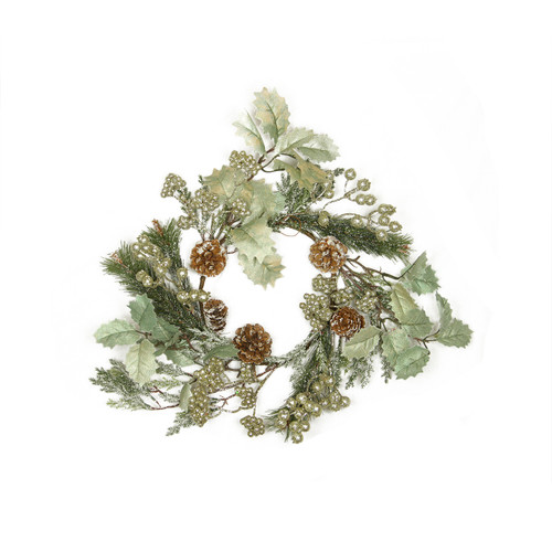 Green and Brown Glitter Holly Frosted Pine Cone Artificial Christmas Wreath - 15-Inch, Unlit - IMAGE 1