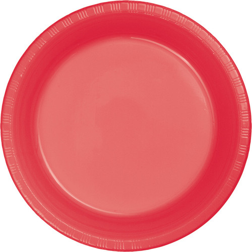 "Club Pack of 240 Coral Pink Red Disposable Plastic Party Banquet Lunch Plates 6.75"" - IMAGE 1"