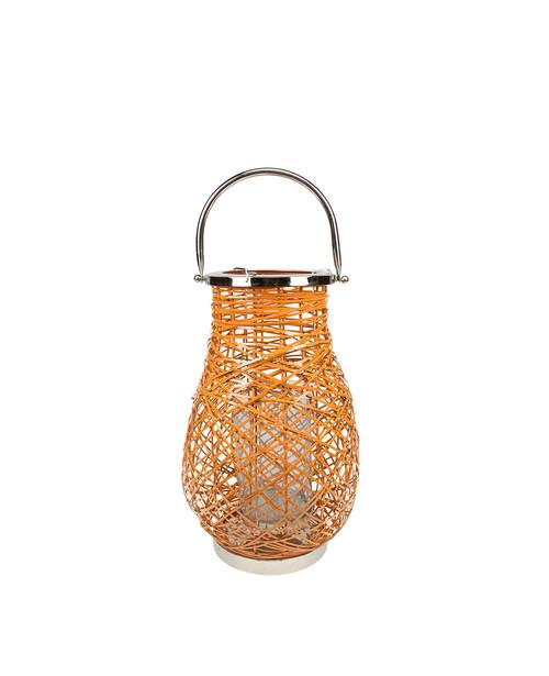 "13.5"" Modern Orange Decorative Woven Iron Pillar Candle Lantern with Glass Hurricane - IMAGE 1"