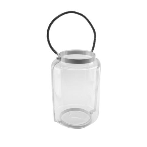 "18"" Hurricane Pillar Glass Candle Lantern with White Metal Frame - IMAGE 1"