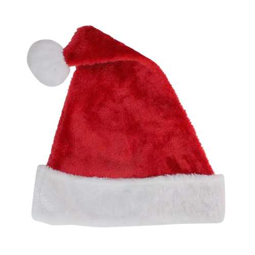 Red and White Plush Unisex Adult Christmas Santa Hat Costume Accessory - Large - IMAGE 1
