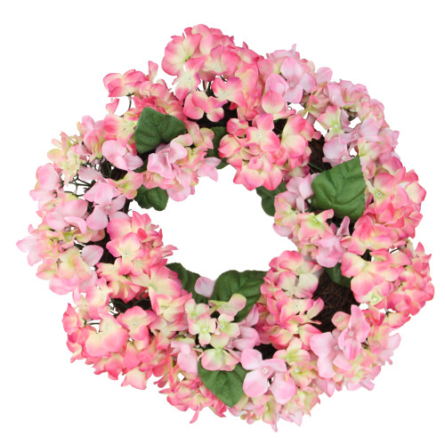 Hydrangea Spring Artificial Floral Wreath, Pink 22-Inch - IMAGE 1