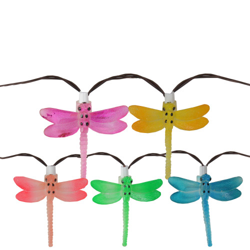 10 Battery Operated Vibrantly Colored LED Dragonfly Garden Patio Umbrella Light - 27.58 ft Brown Wire - IMAGE 1