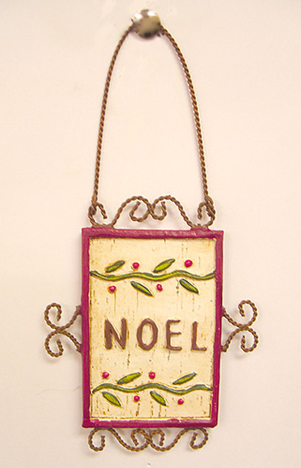 """6.5"""" Beige and Purple Antique """"Noel"""" Holly Berry Christmas Ornament - IMAGE 1"""