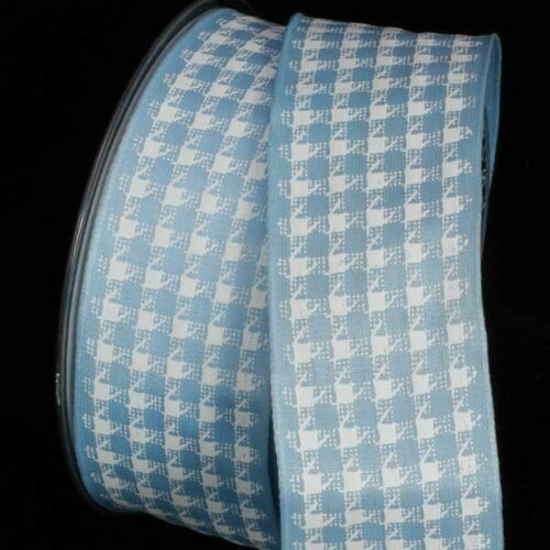 """Blue and White Wired Craft Ribbon 1.5"""" x 27 Yards - IMAGE 1"""