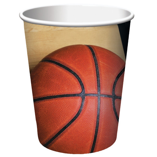 Club Pack of 96 Orange and Black Basketball Disposable Paper Drinking Party Tumbler Cups 9 oz. - IMAGE 1