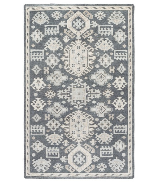 6' x 9' Persian Pale Blue and Brown Hand Knotted Rectangular Wool Area Throw Rug - IMAGE 1