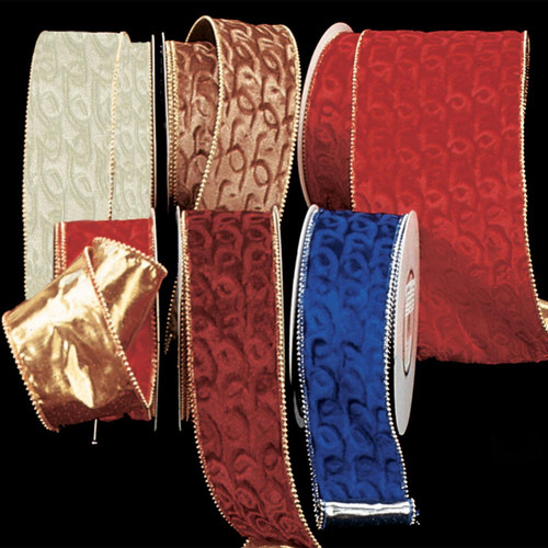 """Burgundy Velvet with Pearl Edge and Gold Backing Wired Craft Ribbon 3"""" x 20 Yards - IMAGE 1"""