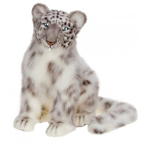 """16.5"""" White and Black Handcrafted Snow Leopard Cub Stuffed Animal - IMAGE 1"""