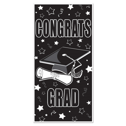 Club Pack of 12 Black and White 'Congrats Grad' Door Covers 5' - IMAGE 1