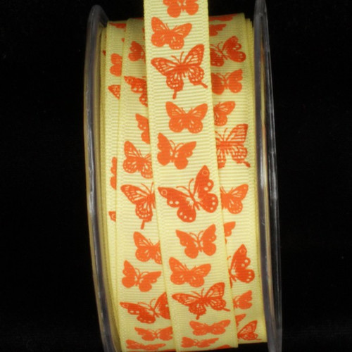 """Yellow and Orange Butterflies Wired Craft Ribbon 0.5"""" x 54 Yards - IMAGE 1"""