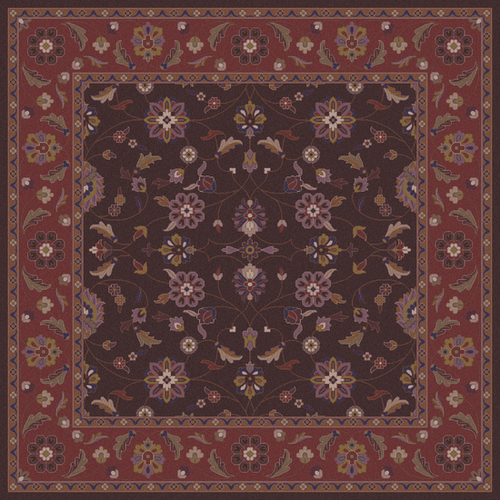 8' x 8' Floral Brown and Purple Hand Tufted Square Wool Area Throw Rug - IMAGE 1