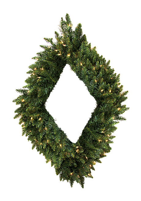 Pre-Lit Camdon Fir Diamond Shaped Artificial Christmas Wreath - 42-Inch, Clear Lights - IMAGE 1