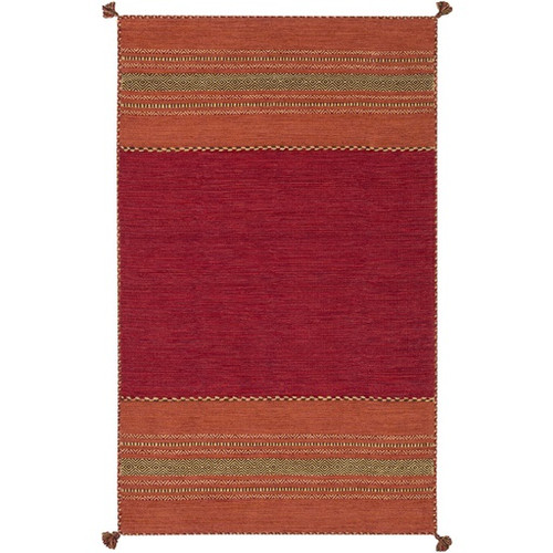 8' x 10' Striped Red and Burnt Orange Hand Woven Rectangular Area Throw Rug - IMAGE 1