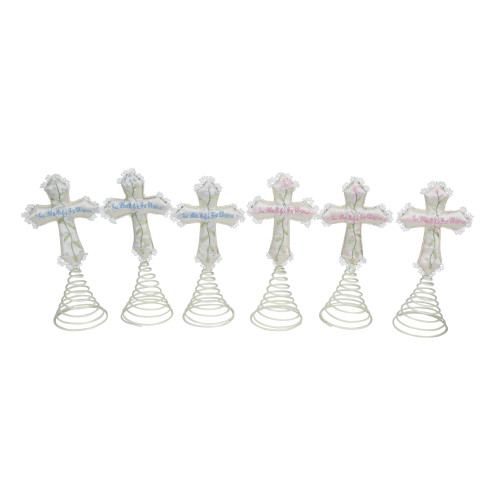 "Set of 6 Ivory and Green God Bless Baby's First Christmas Cross Tree Toppers 9"" - IMAGE 1"