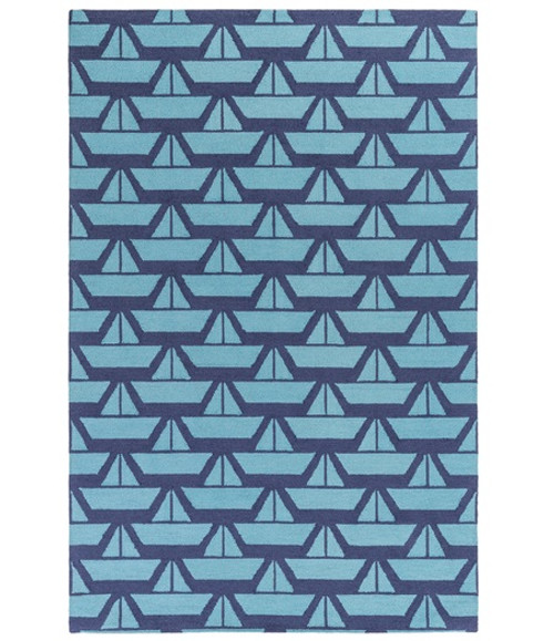 5' x 7.5' Serene Sails Navy Blue Hand Hooked Wool Area Throw Rug - IMAGE 1
