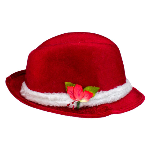 """3.5"""" Red and White Fedora with Plush Women Christmas Santa Hat - One Size - IMAGE 1"""