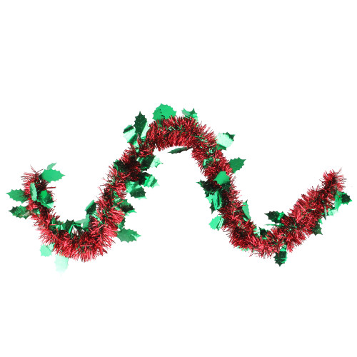 50' Shiny Red Christmas Tinsel Garland with Green Holly - Unlit - IMAGE 1
