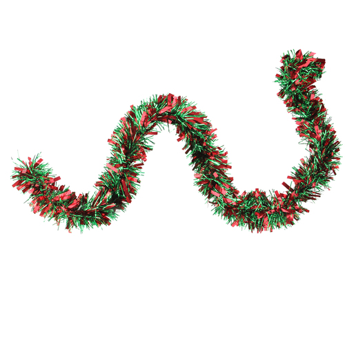 """50' x 3"""" Red and Green Wide Cut 6-Ply Artificial Christmas Garland - Unlit - IMAGE 1"""