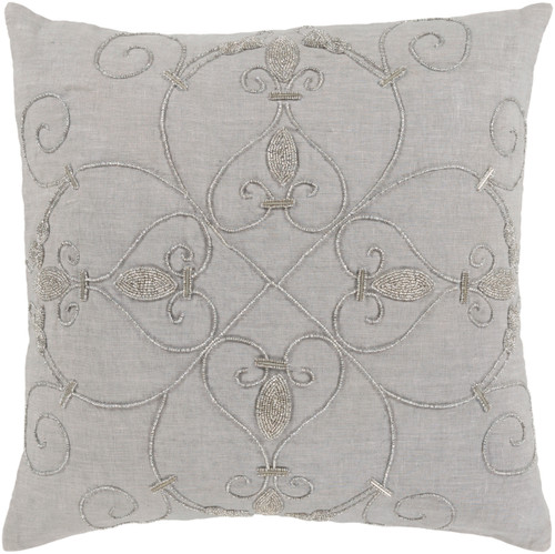 "20"" Ash Gray and Silver Woven Square Throw Pillow - IMAGE 1"