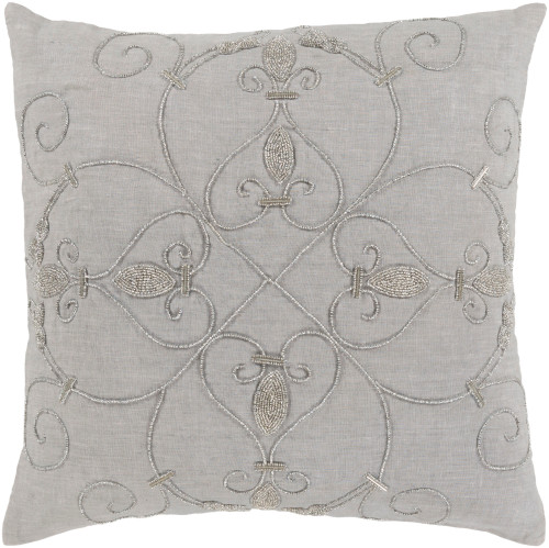 """20"""" Ash Gray and Silver Woven Square Throw Pillow - Down Filler - IMAGE 1"""