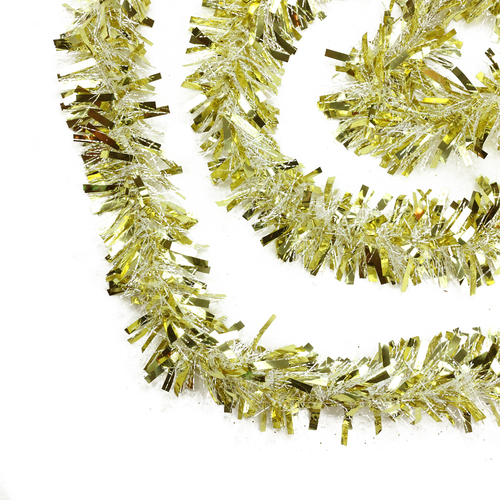 50' Gold and White Wide Cut Christmas Tinsel Garland - Unlit - IMAGE 1