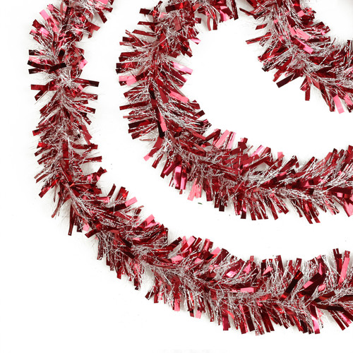 """50' x 4"""" Red and White Wide Cut Snowblush Tinsel Christmas Garland - Unlit - IMAGE 1"""