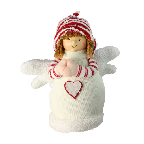 """9"""" White and Red Angel Boy with Heart Christmas Tabletop Decoration - IMAGE 1"""