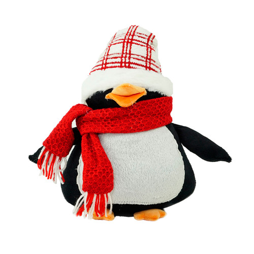 """13.75"""" Black and Red Penguin Wearing a Scarf with Plaid Hat Christmas Tabletop Decoration - IMAGE 1"""