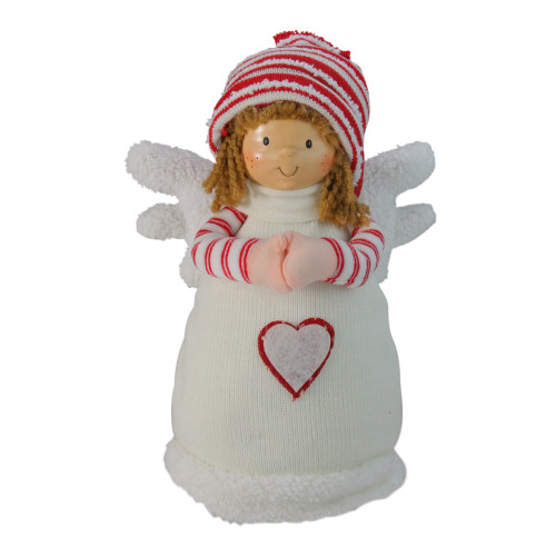 """10.5"""" White and Red Angel Boy with Heart Christmas Tabletop Figurine - IMAGE 1"""