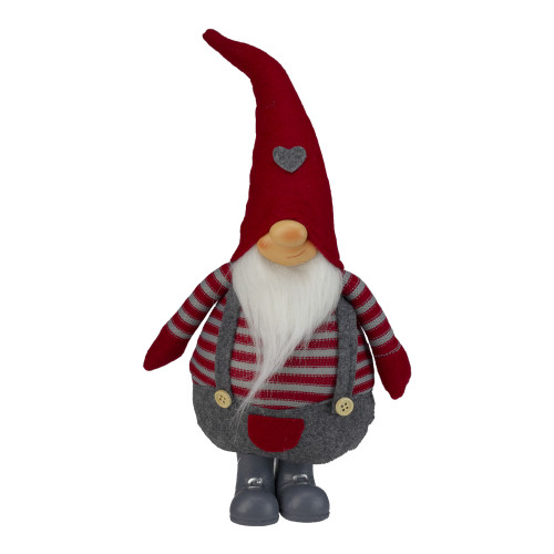 "12"" Red and Gray Striped Chubby Gilbert Standing Gnome Christmas Figurine - IMAGE 1"