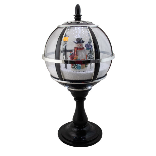 "23.5"" Black Lighted Musical Snowing Snowman Christmas Table Top Street Lamp - IMAGE 1"