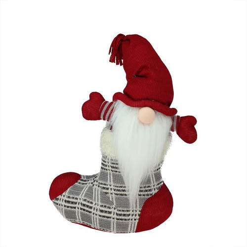 """14.5"""" Red and Gray Tristan Gnome Christmas Stocking Tabletop Figurine - IMAGE 1"""