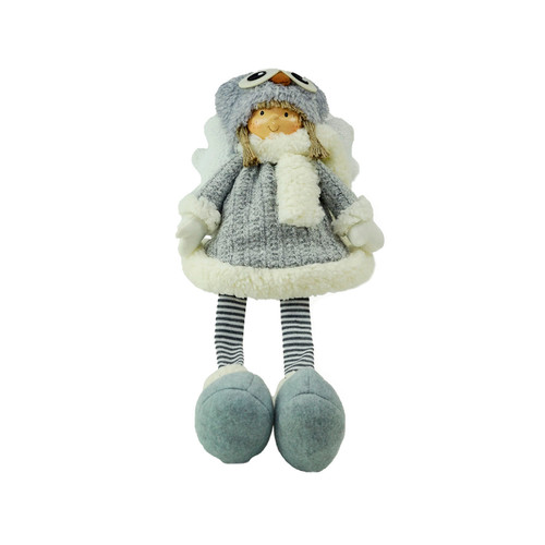 "21"" Sitting Girl Angel with Dangling Legs and Owl Hat Christmas Decoration - IMAGE 1"