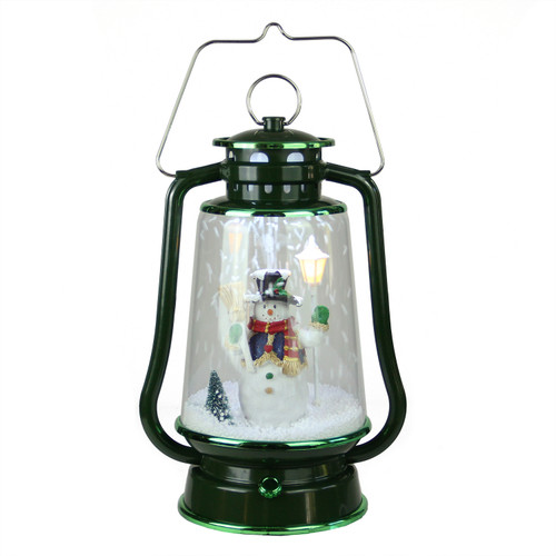 """13.5"""" Green Lighted Musical Snowman Snowing Christmas Table Top Lantern - IMAGE 1"""