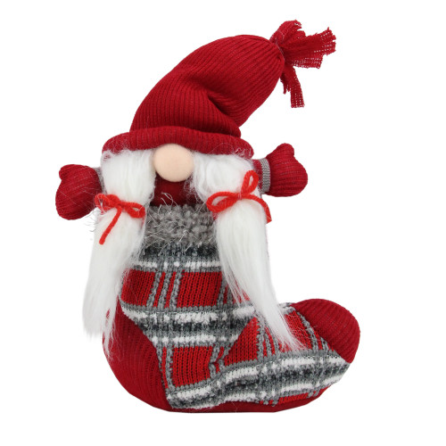 """10"""" Red and Gray Isolde Gnome Christmas Stocking Tabletop Figurine - IMAGE 1"""