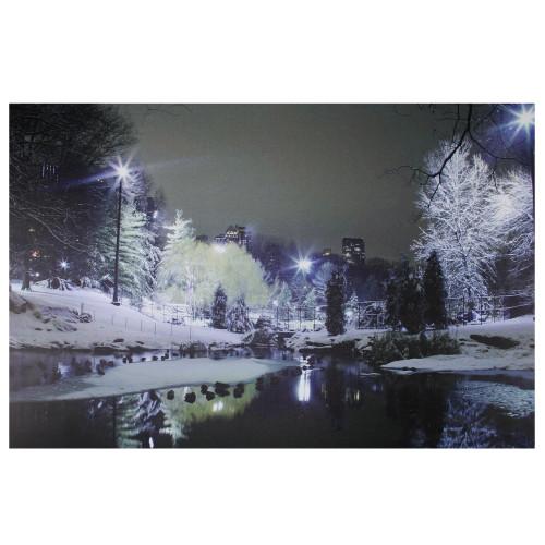 "23.5"" LED Lighted Nighttime City Park Winter Scene Canvas Wall Art - IMAGE 1"