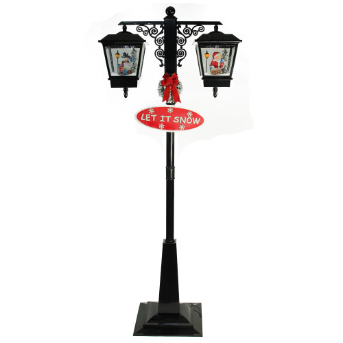 """74"""" Black Lighted Musical Snowing Santa and Snowman Double Christmas Street Lamp - IMAGE 1"""
